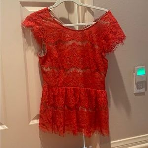 Maeve Anthropologie Red Lace Top